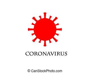 coronavirus, ikon, röd fond, vit