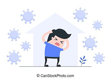 coronavirus, illustration., quarantaine, concept
