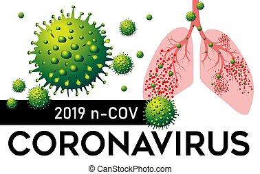 coronavirus, illustration., vecteur, pneumonia, 2019, poumons, n, cov, porcelaine