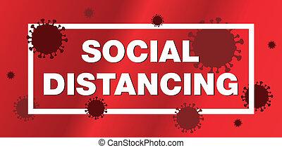 coronavirus, ilustración, social, distancing