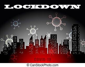 coronavirus, impedir, outbreak., affects, ou, erupção, lockdown, economia, corona, espalhar, vírus, pandemic