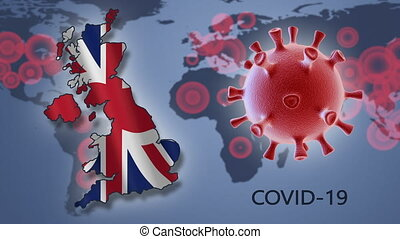 Coronavirus in Britain - Coronavirus cell and map of Britain...