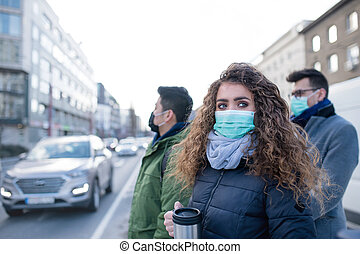 Coronavirus in city, prevention and protection concept. - ...