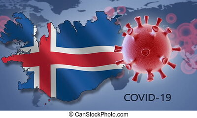 Coronavirus cell and map of Iceland on background of the World map