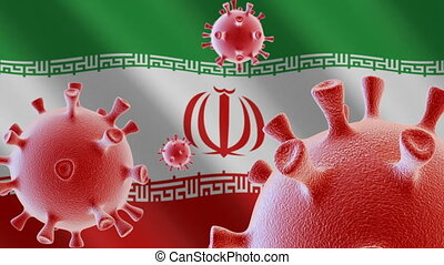 COVID-19. Coronavirus cells on the background of the flag of Iran