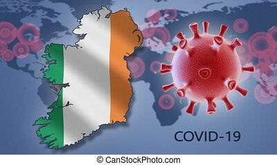 Coronavirus cell and map of Ireland on background of the World map