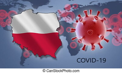 Coronavirus cell and map of Poland on background of the World map