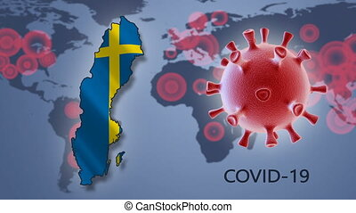 Coronavirus cell and map of Sweden on background of the World map