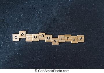 Coronavirus in wood letter blocks.