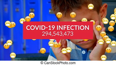 Animation of Covid-19 Infection text with numbers growing, emojis flowing on schoolboy massaging his temples at school. Education back to school coronavirus pandemic concept digitally generated image.