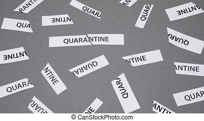 coronavirus, it., conceptuel, fin, séparément, imprimé, concept., gris, mot, covid-19, tored, papier, sur, quarantaine, arrière-plan., inscription, isolement