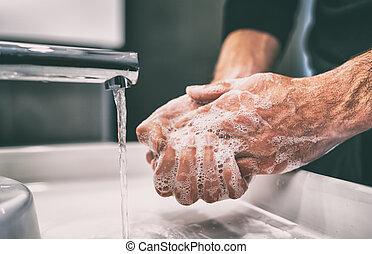 coronavirus, lavado, tibio, frequently, frotamiento, prevención, jabón, pandemia, dedos, mano, sanitizer, manos, lavado, utilizar, gel, o, agua, clavos