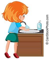 coronavirus, limpieza, niña, evitar, mano
