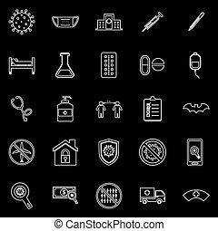 Coronavirus line icons on black background