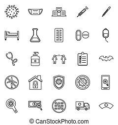 Coronavirus line icons on white background