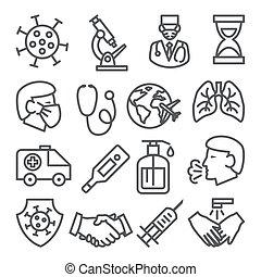 Coronavirus line icons set on white background