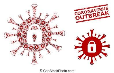 Coronavirus Lockdown Composition of Coronavirus Lockdown Items and Textured Coronavirus Outbreak Seal