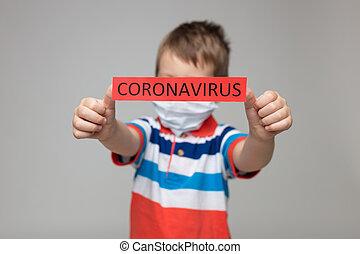 coronavirus, máscara, contra, niño, respiratorio, prevención, llevando, covid-19, joven