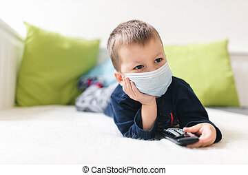 coronavirus, máscara, infeliz, contra, niño, respiratorio, prevención, llevando, covid-19