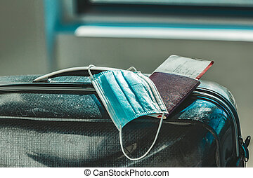 coronavirus, máscara, médico, pasaporte, maleta, restriction., luggage., boleto, aeropuerto, cara, viaje, luggages, covid-19, avión
