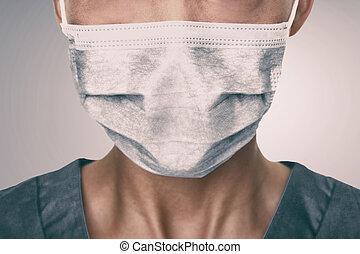 coronavirus, máscara, ppe, preventivo, doctor, llevando, ...