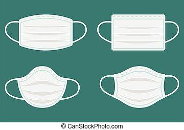 coronavirus, máscaras, terapéutico, cara, protege, hospital, masks., médico, ambiental, polvo, masking., respiración, seguridad, contaminación, mask., protección, respiratory., protector, o, industrial