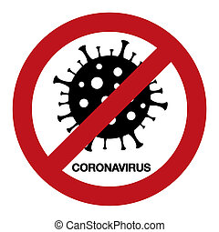 coronavirus, médico, concept., signo., brote, advertencia, ...
