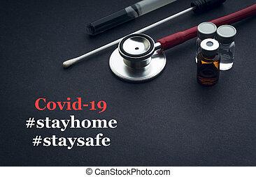 coronavirus, médico, estetoscopio, o, hogar, texto, frasco, escobillón, negro, seguro, plano de fondo, estancia, covid-19