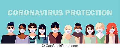 coronavirus, médico, gente, máscara, cara, prevención