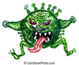 coronavirus, main, dessiné