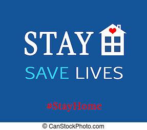 coronavirus, maison, arrêt, séjour, spreading., covid-19, conseil