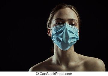 coronavirus, mask., arrière-plan., quarantine., protecteur, ...