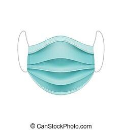 coronavirus, mask., concept., 保護である, 顔