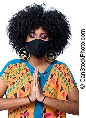 coronavirus, masque, brésilien, protecteur, girl, contagion, porter, empêcher, covid-19