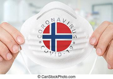 coronavirus, masque, -, conce, norvège, respirateur, drapeau...