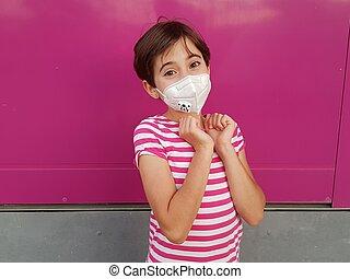coronavirus, masque, contre, protection, enfant, girl, porter, pandémie, pendant, covid-19