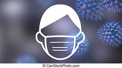 coronavirus, masque, sur, macro, floatin, homme, signe, cellules, numérique, figure, illustration, porter, covid-19