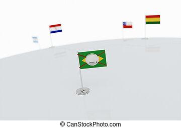 Coronavirus medical surgical face mask on the Brazilian national flag