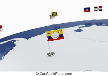 Coronavirus medical surgical face mask on the Colombian national flag
