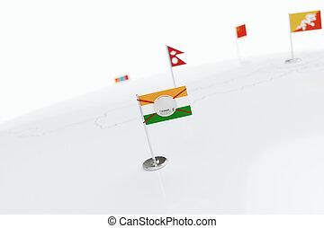 Coronavirus medical surgical face mask on the Indian national flag