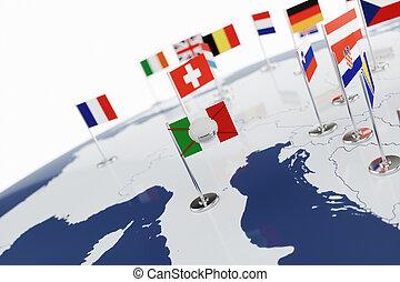 Coronavirus medical surgical face mask on the Italian national flag