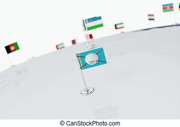 Coronavirus medical surgical face mask on the Kazakh national flag