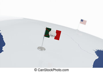 Coronavirus medical surgical face mask on the Mexican national flag