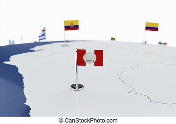 Coronavirus medical surgical face mask on the Peruvian national flag