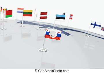 Coronavirus medical surgical face mask on the Russian national flag