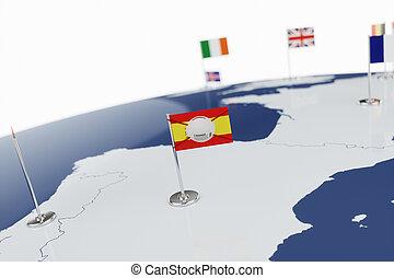 Coronavirus medical surgical face mask on the Spanish national flag