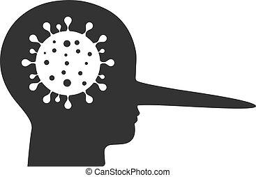 coronavirus, mentiroso, icono, vector, plano
