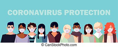 coronavirus, monde médical, gens, masque, figure, prévention