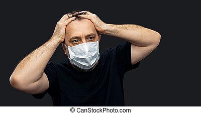 coronavirus, monde médical, mask., figure, homme, epidemic.