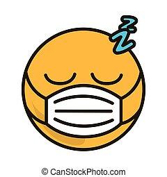 coronavirus, monde médical, plat, style, emoticon, masque, dessin animé, dormir, covid-19, pandémie